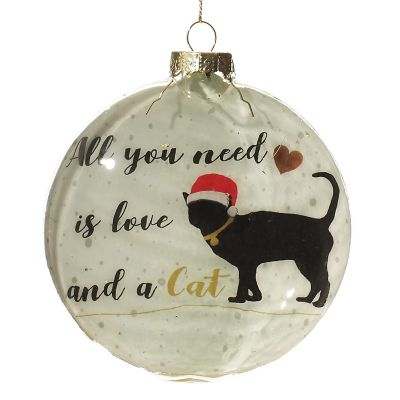 Cat Lovers Christmas Glass Disc Front detail
