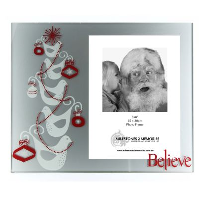 Glass Chistmas Photo Frame - Doves