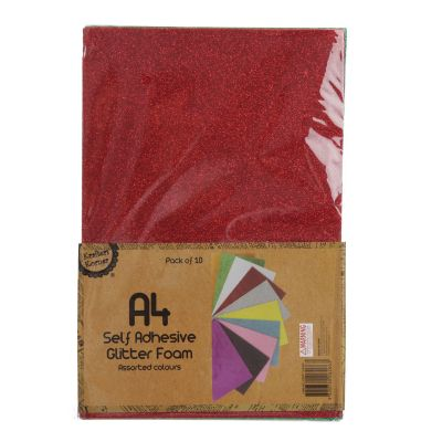Glitter Foam Self Adhesive Mixed Colours A4 Sheets - Pack of 10