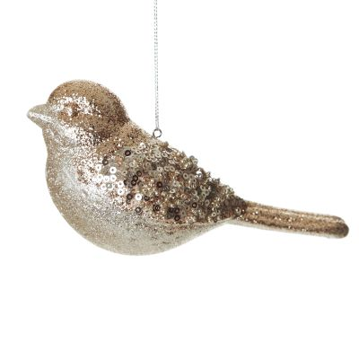 Champagne Glitter and Sequin Bird