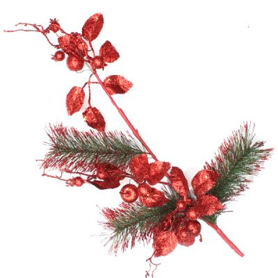 Red Glitter Floral and Pine Spray