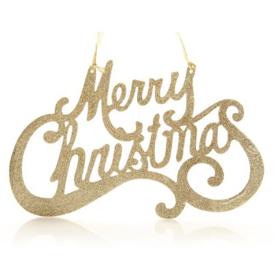 Champagne Gold Merry Christmas Word Plaque