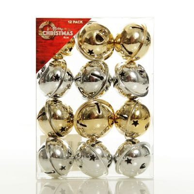 Gold and Silver 4cm Jingle Bell Decorations - Box of 12