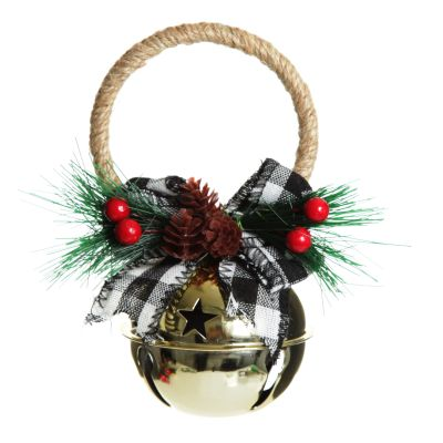 Gold Christmas Bell Door Hanger with Buffalo Check Bow