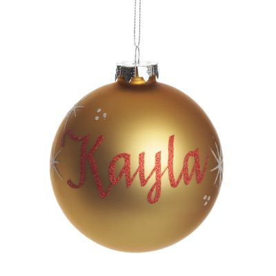 Gold Glass Personalised Christmas Bauble