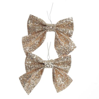 Gold Glitter Bow Clip - Set of 2