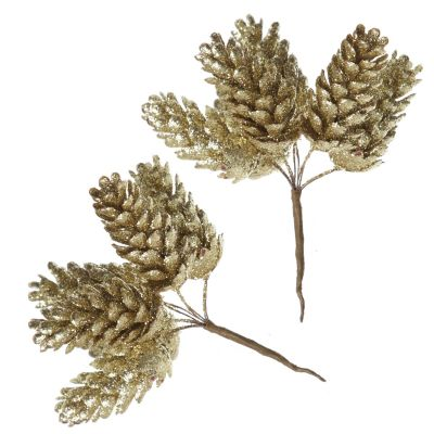 Gold Glitter Pinecone Clusters - Set of 2