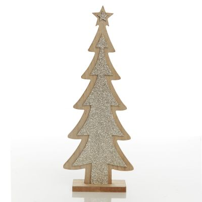 Gold Glitter Wooden Table Top Christmas Tree