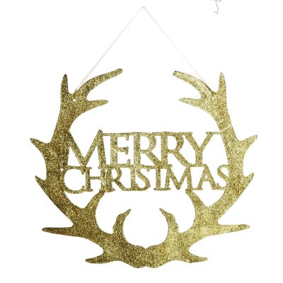 Gold Hanging Merry Christmas Sign with Antlers
