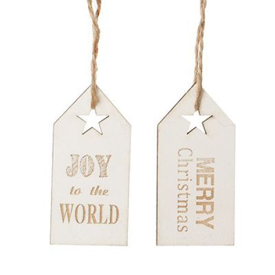 Gold and White Christmas Greeting Wooden Gift Tags - Set of 3