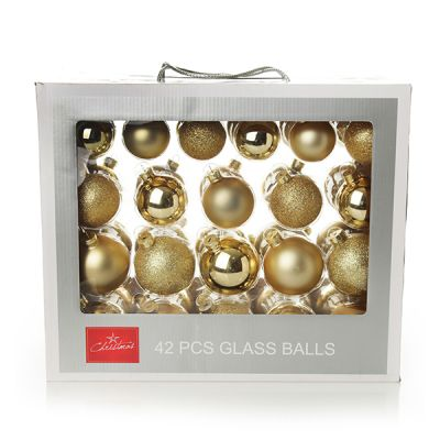 Gold Glass Christmas Bauble Pack - Set of 42