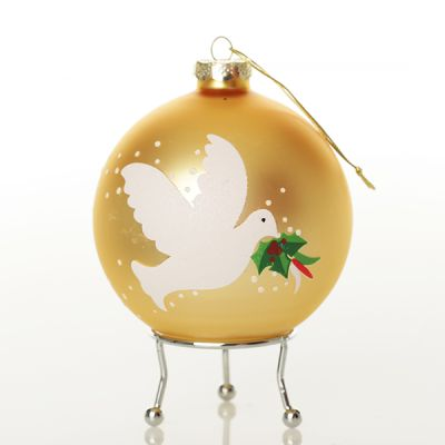 Gold Peace Doves Christmas Bauble