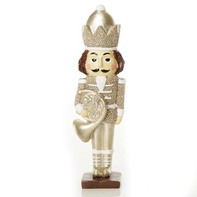Royal Gold and White Nutcracker with French Horn Whole product