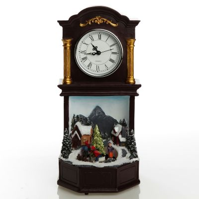 Grandfather Clock Lightup Ornament with Ice Skaters