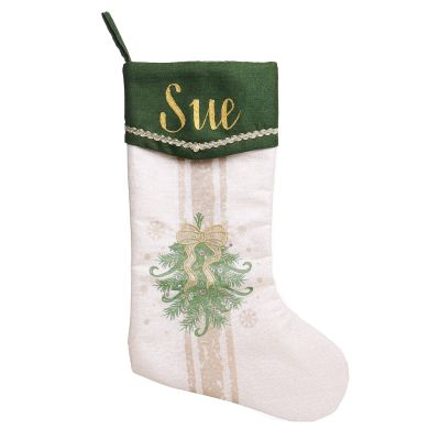 Personalised Green and Gold Mistletoe Christmas Stocking