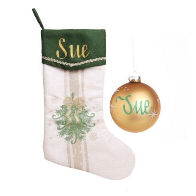 Personalised Green and Gold Mistletoe Stocking & Bauble Pack