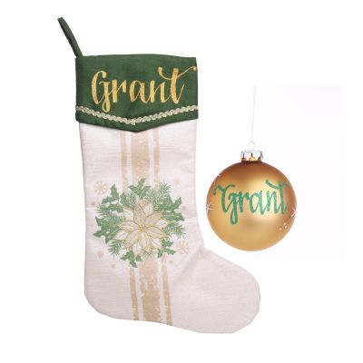 Personalised Green and Gold Poinsettia Stocking & Bauble Pack