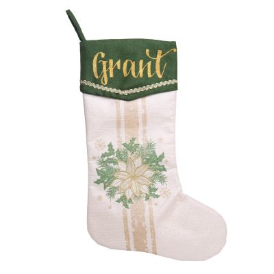 Personalised Green and Gold Poinsettia Christmas Stocking