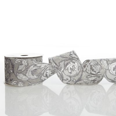 Grey Linen with Silver Glitter Floral Pattern Ribbon