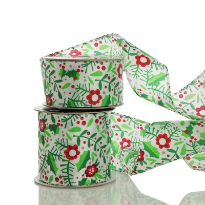 Holly & Berry Flowers Wired Ribbon