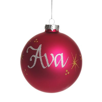 Hot Pink Personalised Glass Christmas Bauble