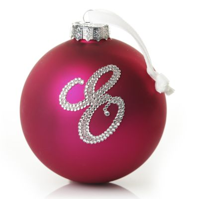 Hot Pink Bling Monogram Christmas Bauble Whole product