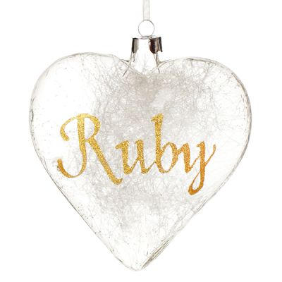 Personalised Icicle Glass Heart with Gold Glitter