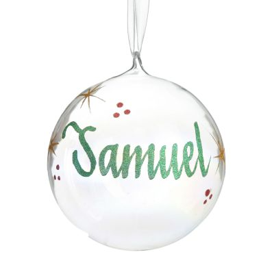 Iridescent Glass Personalised Christmas Bauble