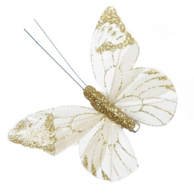 Ivory and Gold Glitter Sheer Butterfly with Clip