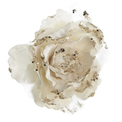 Ivory Peony with Sparkles Flower Clip