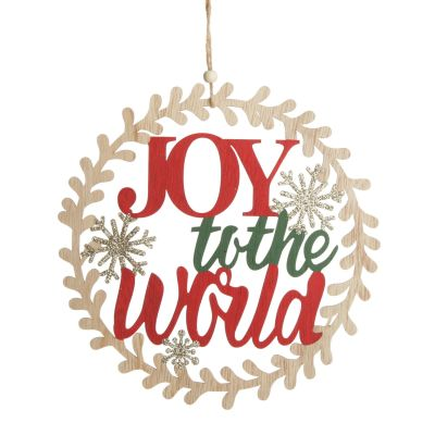 Joy to the World Wooden Circle Wreath Plaque - Whole product