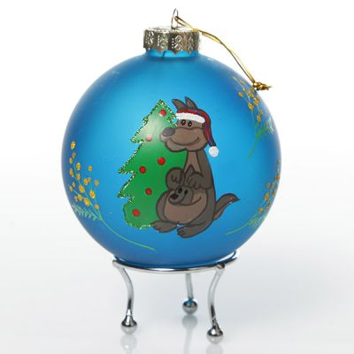 Frosted blue Kangaroo and Wattle Christmas Bauble