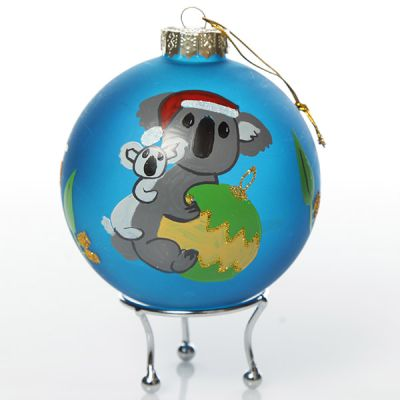 Frosted blue Koala and gumnuts Christmas Bauble