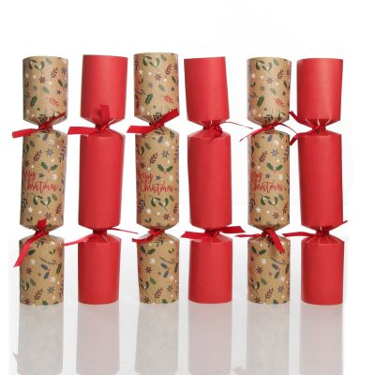 Kraft Natural and Red Merry Christmas Bon Bons - Set of 6