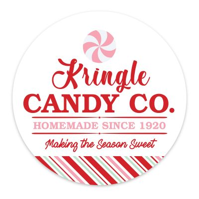 White Kringle Candy Co Christmas Wreath Plaque