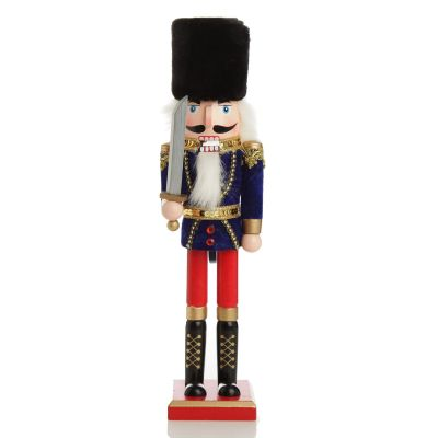 Traditional Christmas Wooden Nutcracker Soldier Ornament with Sword - Large