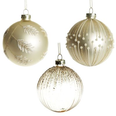 Large Pearl and Gold Ornate Glitter Glass Baubles - Set of 3