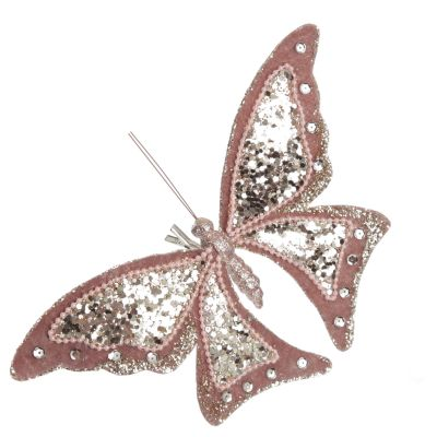 Large Pink with Gold Glitter Butterfly Clip