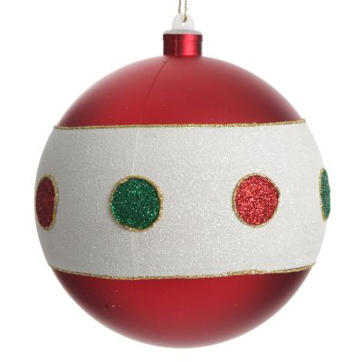Large Red and White Bauble with Dots