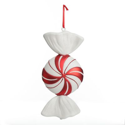 Large Red and White Swirl Peppermint Candy Hanging Christmas Decoration
