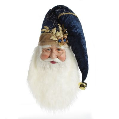 Large Santa Head with Blue Hat Christmas Wall Hanging