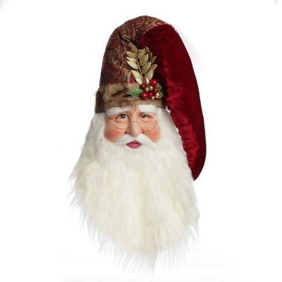 Large Santa Head with Burgundy Hat Christmas Wall Hanging