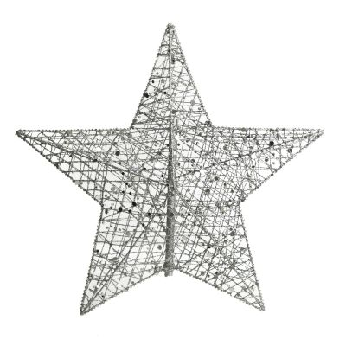 Silver Glitter Wire Beaded Star Tree Topper
