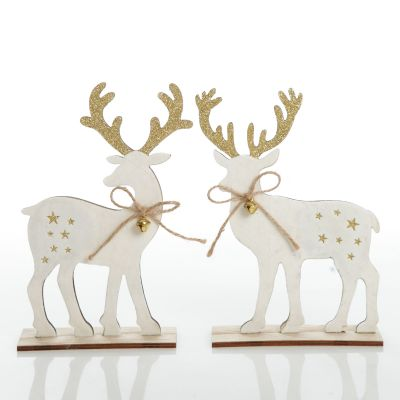 Large White Wood Deers with Gold Glitter Ornaments -Set of 2