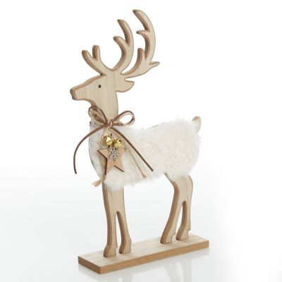 Large Wood Reindeer with Fur Christmas Ornament and Neck Tie