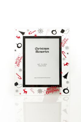Large Glass Christmas Frame - Candy Cane