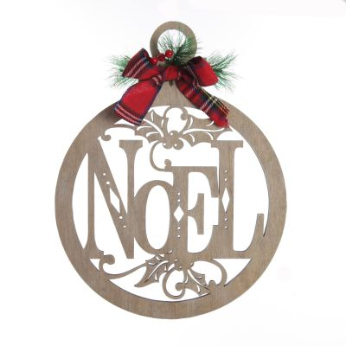 Laser Cut Noel Plywood Hanging Christmas Bauble Tarten bow