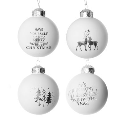 Silver Merry Little Christmas Glass Bauble Set