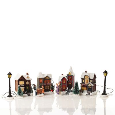 Miniature Christmas Street Lightup Ornaments - Front