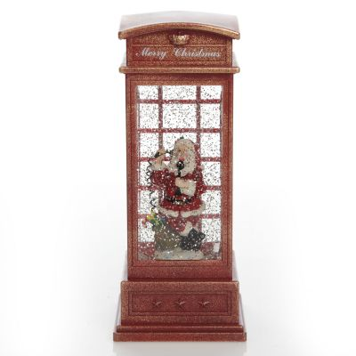 Light Up Musical Telephone Booth with Santa Christmas Ornament